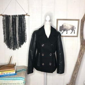 Sam Edelman circus black wool blend pea coat
